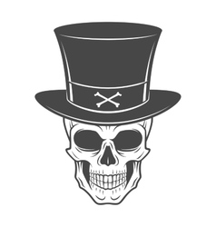 Steampunk skeleton with high hat smiling vector