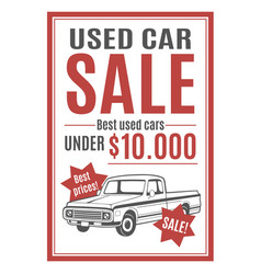 template for used car sale vector image vector image