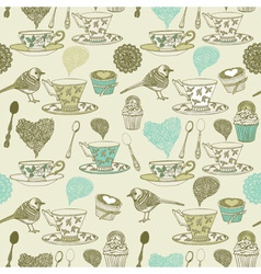 Vintage tea time pattern vector