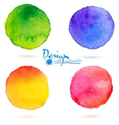 Watercolor circle splashes set vector