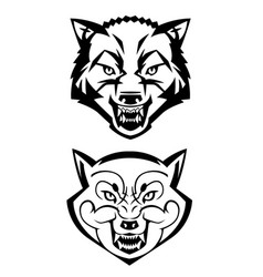 Wolfs heads showing teeth vector