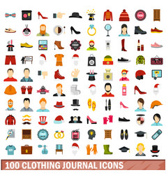 100 clothing journal icons set flat style vector