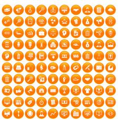 100 partnership icons set orange vector