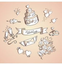 Sketch of wedding design elements vector