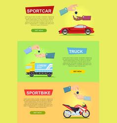 Sportcar truck sportbike hands passing keys vector