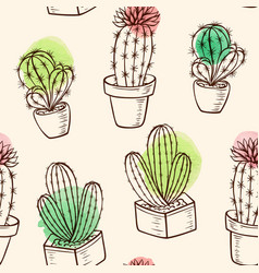 Pattern with cactus in flowerpot vector