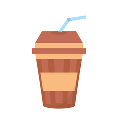 fresh beverage plastic cup straw vector image