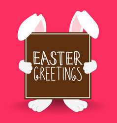Happy easter rabbit quote greeting card vector