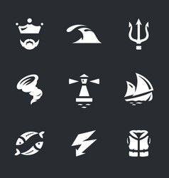 set of neptune icons vector image