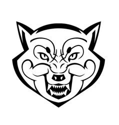 Wolf39s head showing teeth vector