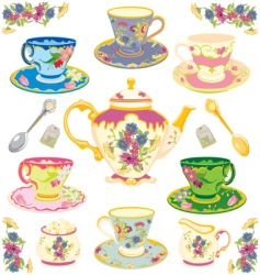 Victorian tea set vector