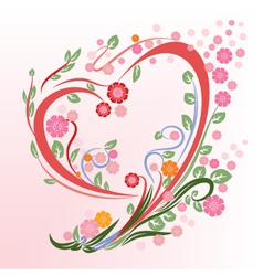 Flower in heart shape vector