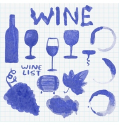 Set of watercolor wine stuff decoration and vector
