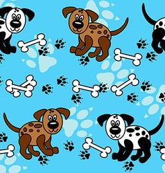 Seamless dogs and bones borders over blue vector image