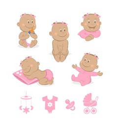 African baby girl set vector image