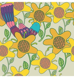 Sunflowers background pattern vector