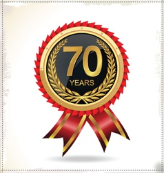 70 years anniversary golden label with ribbon vector
