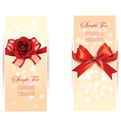 Valentines day emblems with red ribbons card vector