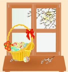 Spring window and pussy willow with easter basket vector