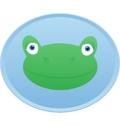 Frog head button badge vector
