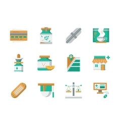 Flat design icons for drugstore vector