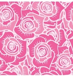Seamless pattern of pink roses with white lines vector
