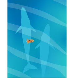 Small boat swimming above two huge blue whales vector