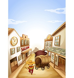 A young boy dancing with a wooden carriage vector image vector image