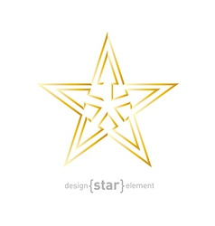 Abstract Gold star with arrows made of thin lines vector image