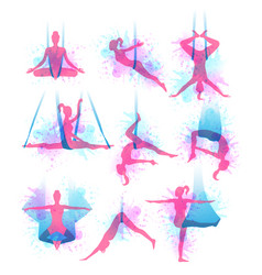 Aero yoga watercolor icons vector