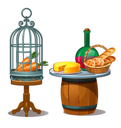 Carrots in cage and wine bread and cheese vector