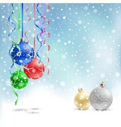 Christmas bauble snow ribbon vector
