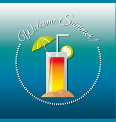 Delicious cool cocktail for celebrate summer vector