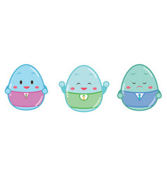 Easter painted eggs with face different emotions vector