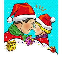 father and son christmas pop art comic vector image