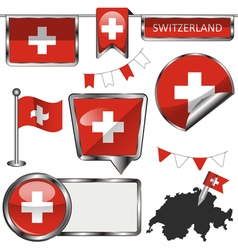 Glossy icons with swiss flag vector