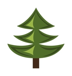 Green pine tree with wooden log graphic vector