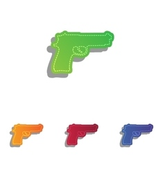 Gun sign Colorfull applique icons vector image vector image