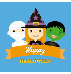 Halloween costume party with kids vector image