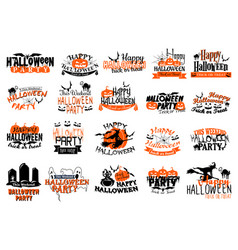 icons for happy halloween party holiday vector image vector image