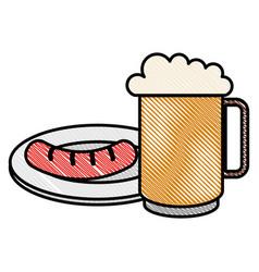 Jar beer fresh and sausage vector