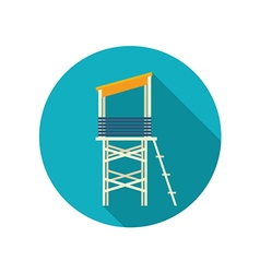 Lifeguard tower flat icon summer vacation vector