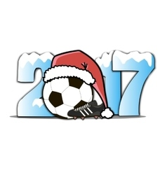 New year numbers 2017 and soccer ball vector