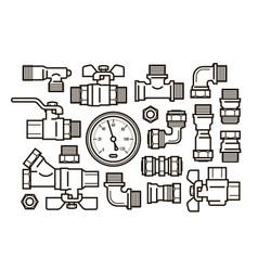 Sanitary engineering plumbing set icons water vector