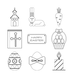 Set of Easter black and white flat icons vector image