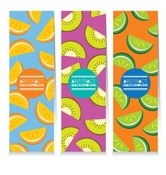 Set of three juicy fruit parts vertical banners vector