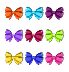 set with cartoon colorful bows vector image