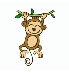 Swinging monkey cartoon for kids vector image