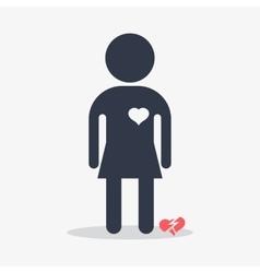 woman with broken heart vector image