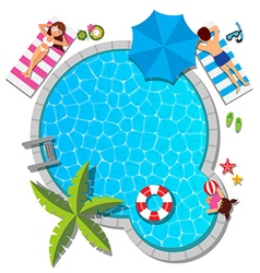 Young family relaxing at swimming pool for summer vector image